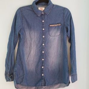 Bling Justice denim button down.